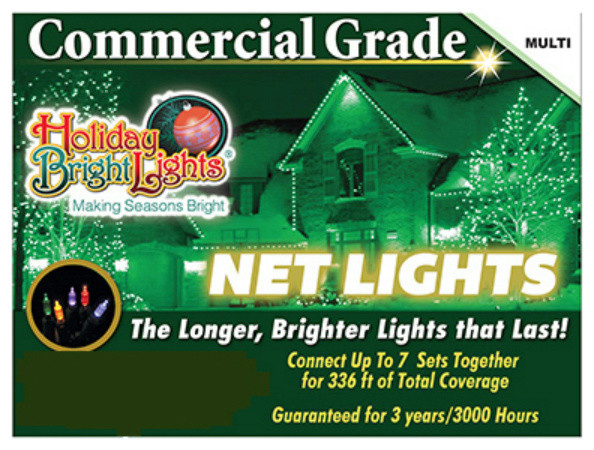 Holiday Bright 150BX-NET-MU Commercial Incandescent Net 150-Lights, Multi, 4'x6'
