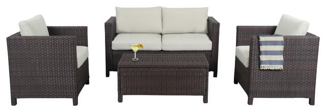 Phoenix Outdoor Wicker Lounge Set With Storage Box, 4-Piece Set