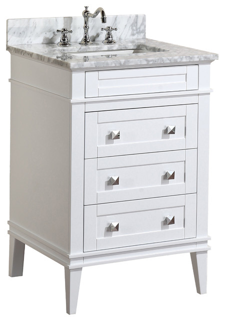 "Eleanor Bathroom Vanity, White, 24"", Carrara Marble Top"