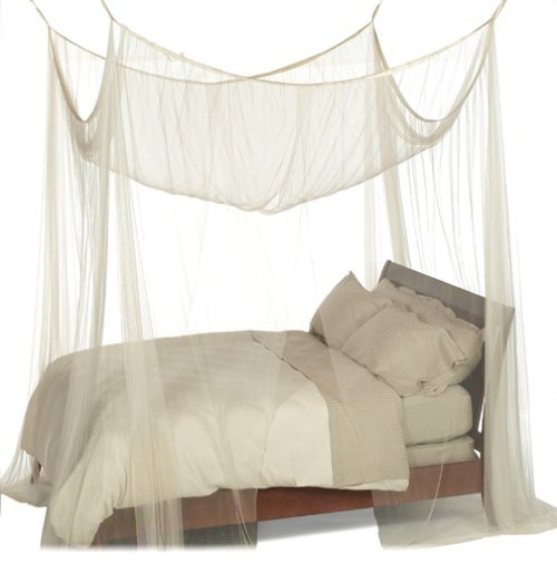 4-Post Bed Canopy, Ecru Color Mesh Fabric, Fits All Bed Sizes.