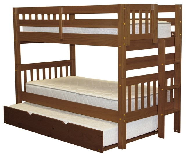 Bedz King Bunk Beds Twin Over Twin, End Ladder And Twin Trundle, Espresso.