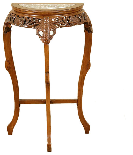 Consigned, Antique Solid Mahogany Hand Carved Plant Stand Wall Table With  Marble