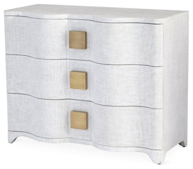 buy popular 682b5 bf47a Linen Wrapped MidCentury Off White Accent Chest Console Drawers Fabric  Curved