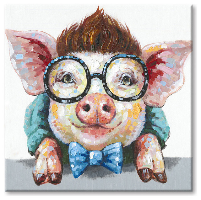 The Pig Wear Glasses Art Poster HD Print Home Wall Decor Multi Sizes