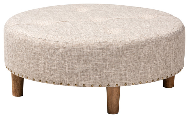 Vinet Modern and Beige Fabric Upholstered Natural Wood Cocktail Ottoman by Wholesale Interiors