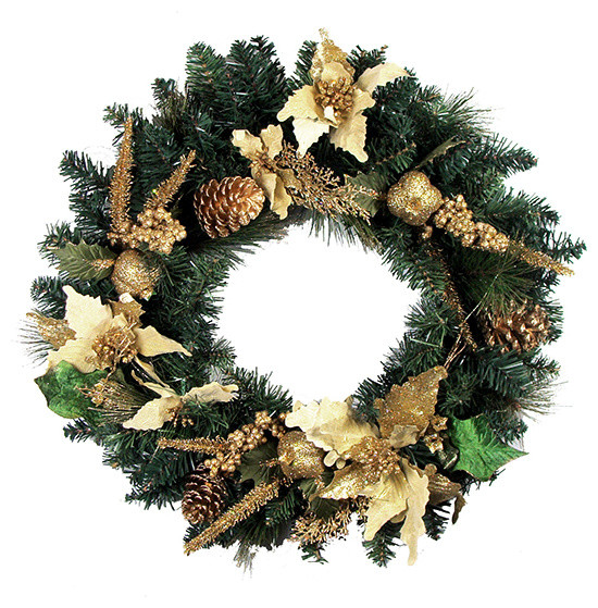 """24"""" Pre-Decorated Artificial Christmas Wreath, Unlit, Gold."""