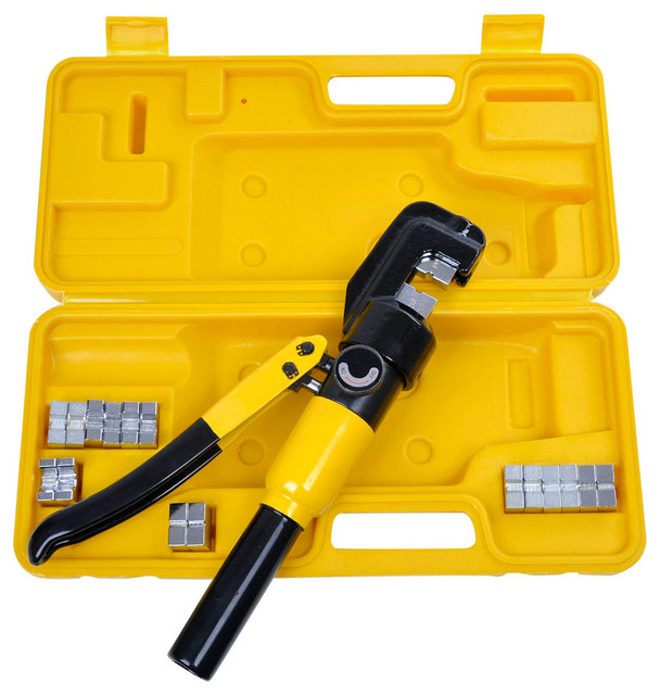 10 Ton Hydraulic Wire Battery Cable Lug Terminal Crimper Crimping Tool, 9 Dies.