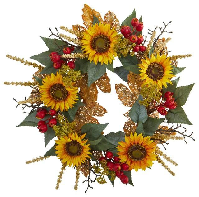 Artificial Wreath -27 Inch Sunflower Berry Wreath.
