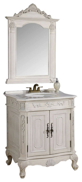 29 Inch Antique White Single Vanity With Mirror 2 Piece
