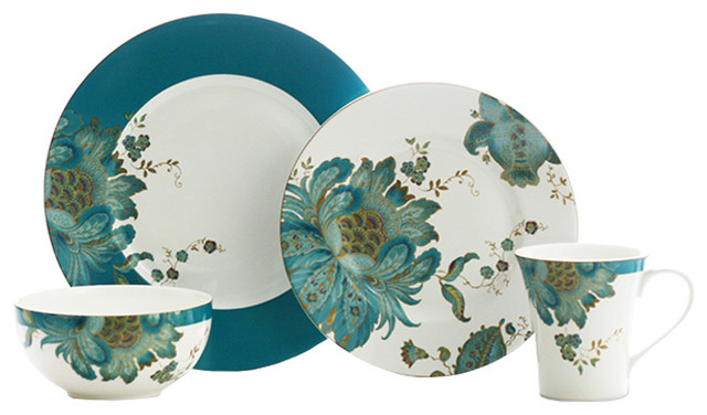 Eliza 16-Piece Dinnerware Set, Teal.