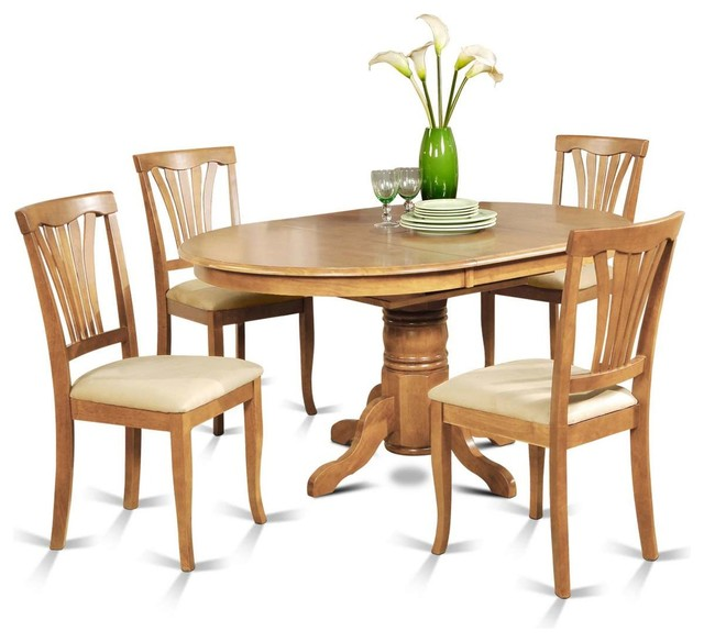 East West Avon 5 Piece 60 X42 Oval Dining Table Set With 4
