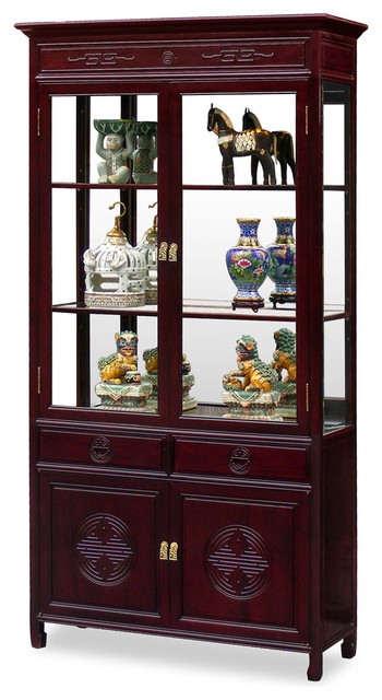 "40"" Rosewood Longevity Motif China Cabinet - Asian - China Cabinets And Hutches - by China ..."