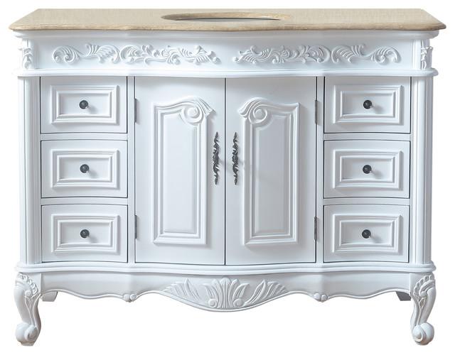 "48"" White Saturn Single Sink Vanity With Travertine Marble Top."