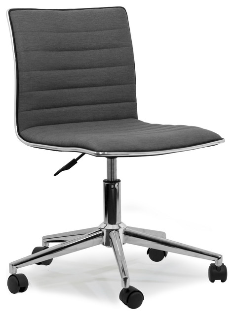 Aiko Gray Fabric Swivel Office Chair With Wheel Base