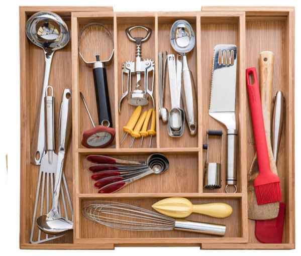 Expandable Bamboo Utensil Cutlery And Utility Drawer Organizer
