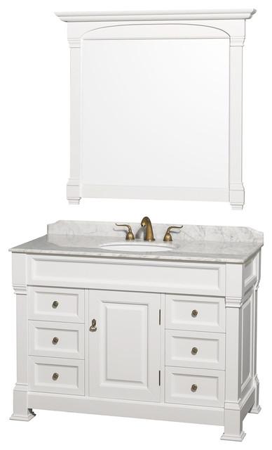 "Andover 48"" Single Vanity Carrera Marble Top 44"" Mirror, White."