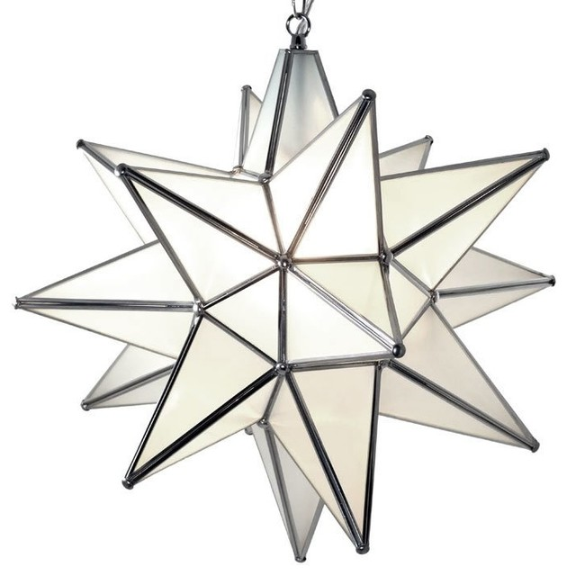 Moravian Star Pendant Light, Frosted Glass, Silver Frame, 18