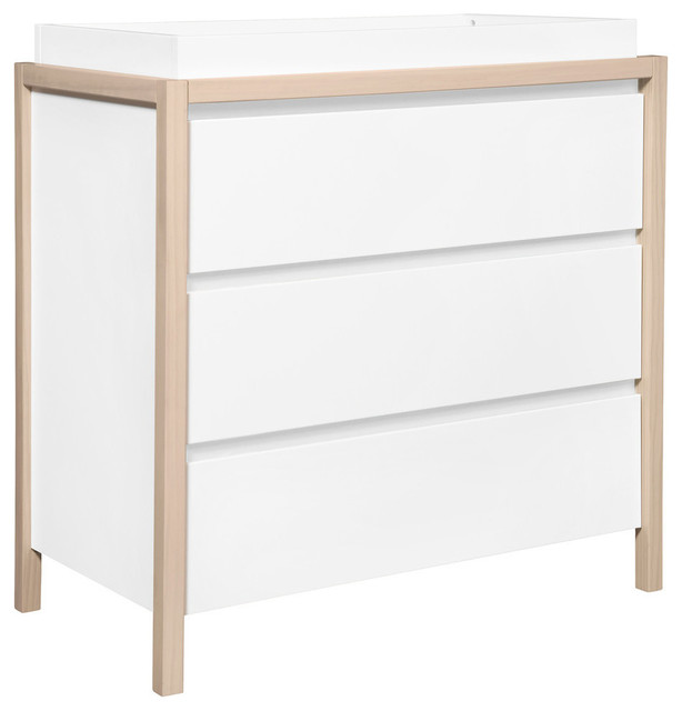 Babyletto Bingo 3-Drawer Changer Dresser, White/Washed Natural, M12423WNX
