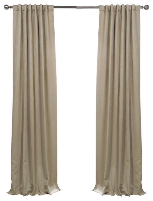 """Classic Taupe Blackout Curtain, Set Of 2, 50""""x108""""."""