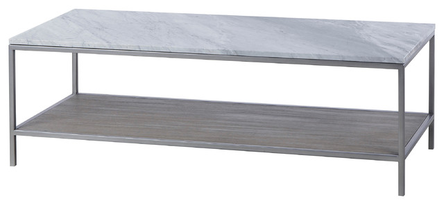 Marble And Silver Coffee Table.Maison 55 Paxton Mid Century Modern Marble Top Silver Coffee Table