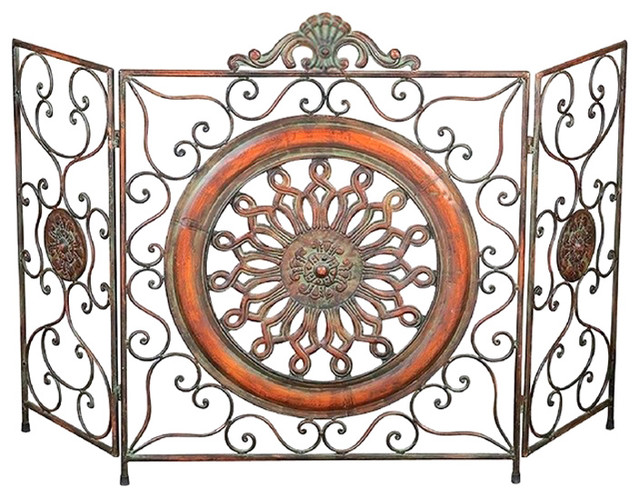 Antique Metal Firescreen With Medallion Center, Multicolor.