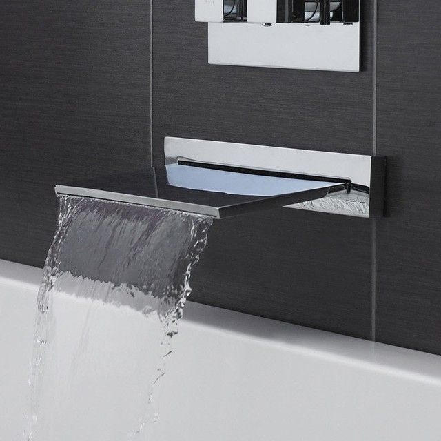 Contemporary Waterfall Tub Filler Bathroom Faucet Deck Mounted Brass