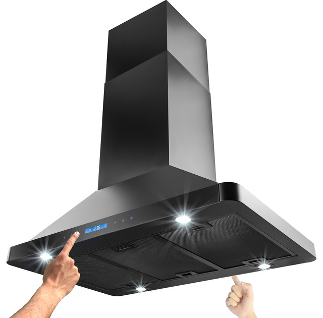 36 Quot Akdy Island Mount Stainless Steel Black Range Hood