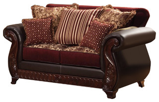 Franklin Regal Sophisticated Loveseat Traditional Style, Dark Brown