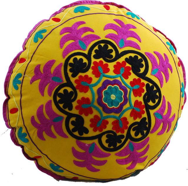 swirl round floor pillow yellow