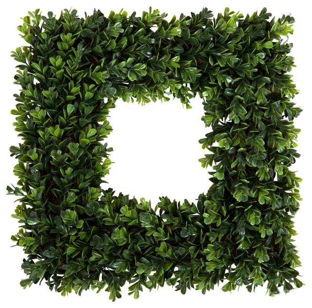 """Pure Garden Square Boxwood Wreath, 16.5""""x16.5""""."""