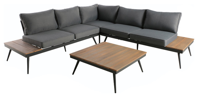 Deborah Outdoor Wood And Aluminum V-Shaped 5 Seater Sofa Set, Natural And Gray.