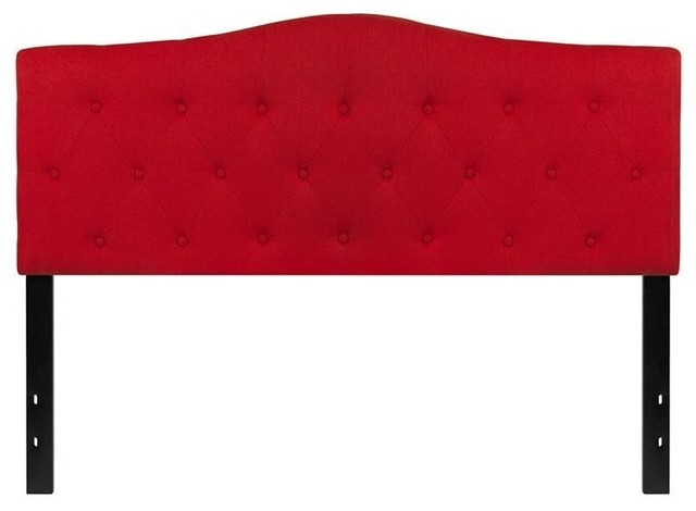 Cambridge Tufted Upholstered Queen Size Headboard, Red Fabric.