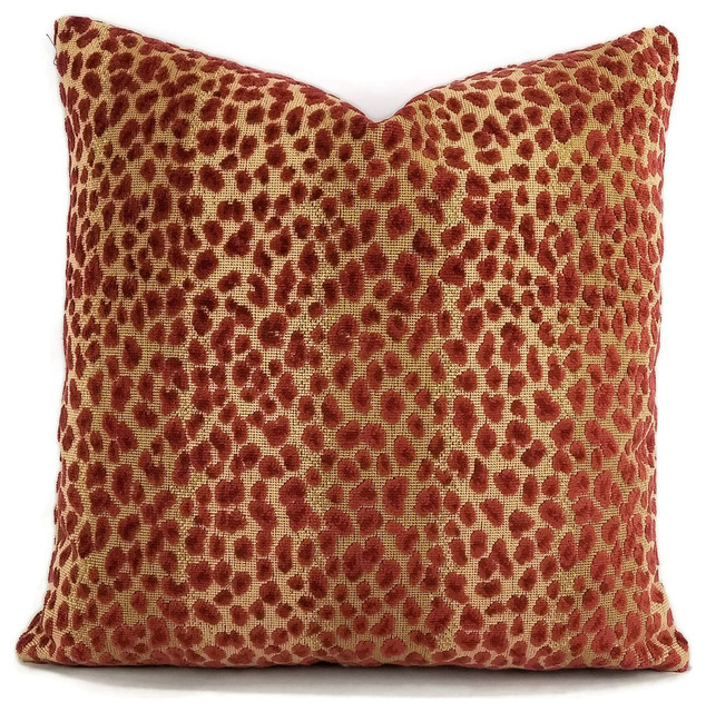 "Cowtan and Tout Ocelot, Red and Cafe Pillow Cover, 20""x20"""