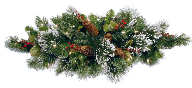 """32"""" Wintry Pine Centerpiece With Battery Operated Warm White Led Lights."""