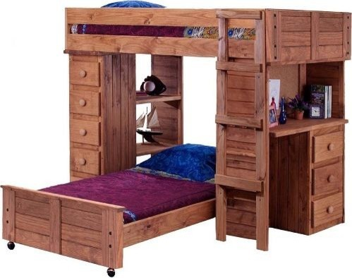 Twin Student Loft Bed With Desk And Chest Ends, Mahogany Stain.