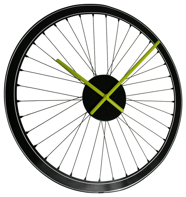Spoked Bicycle Wheel Peel And Stick Vinyl Wall Clock