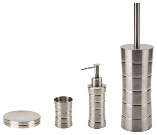 Free standing brushed nickel bathroom hardware set for Brushed gold bathroom accessories