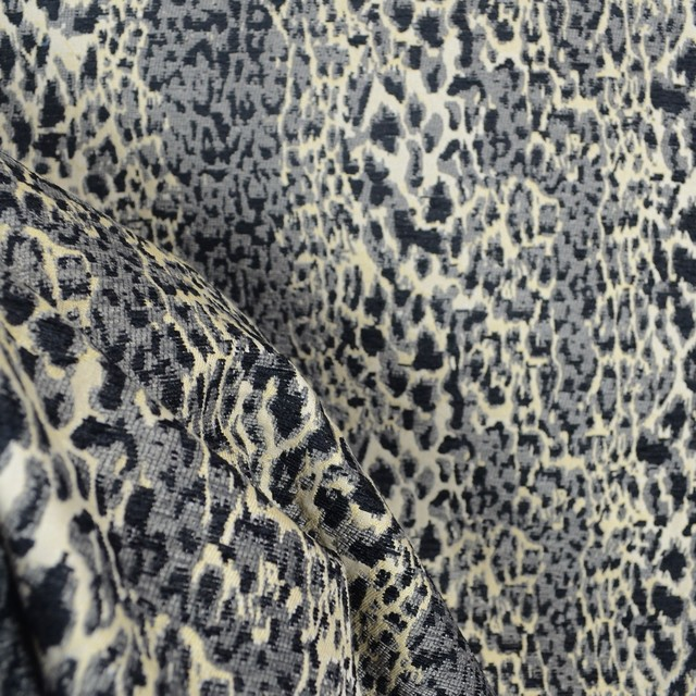 Leopard Print Fabric purrfect graphite grey black chenille animal print fabric