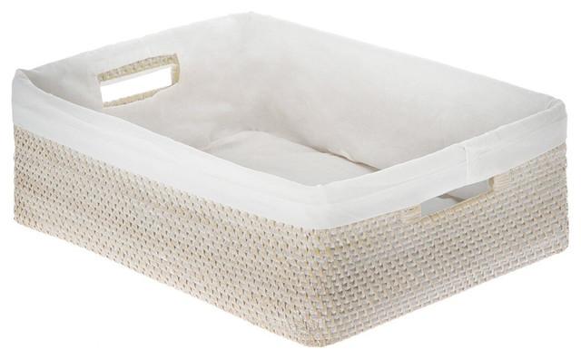 Laguna Rattan Shelf Basket With Cotton Liner White Wash Tropical Baskets By Kouboo