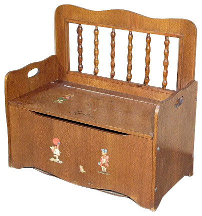 Consigned Vintage Oak Children Storage Trunk Chest Seat Traditional Kids  Storage Benches