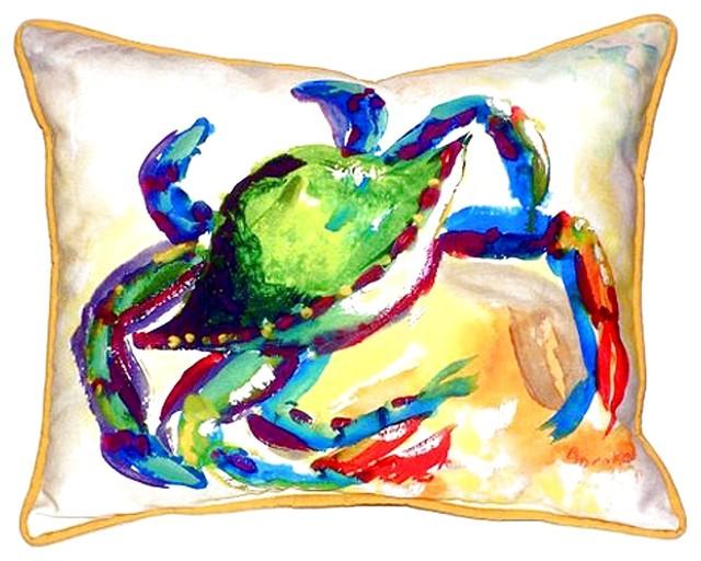 Teal Crab Extra Zippered Indoor Outdoor Pillow