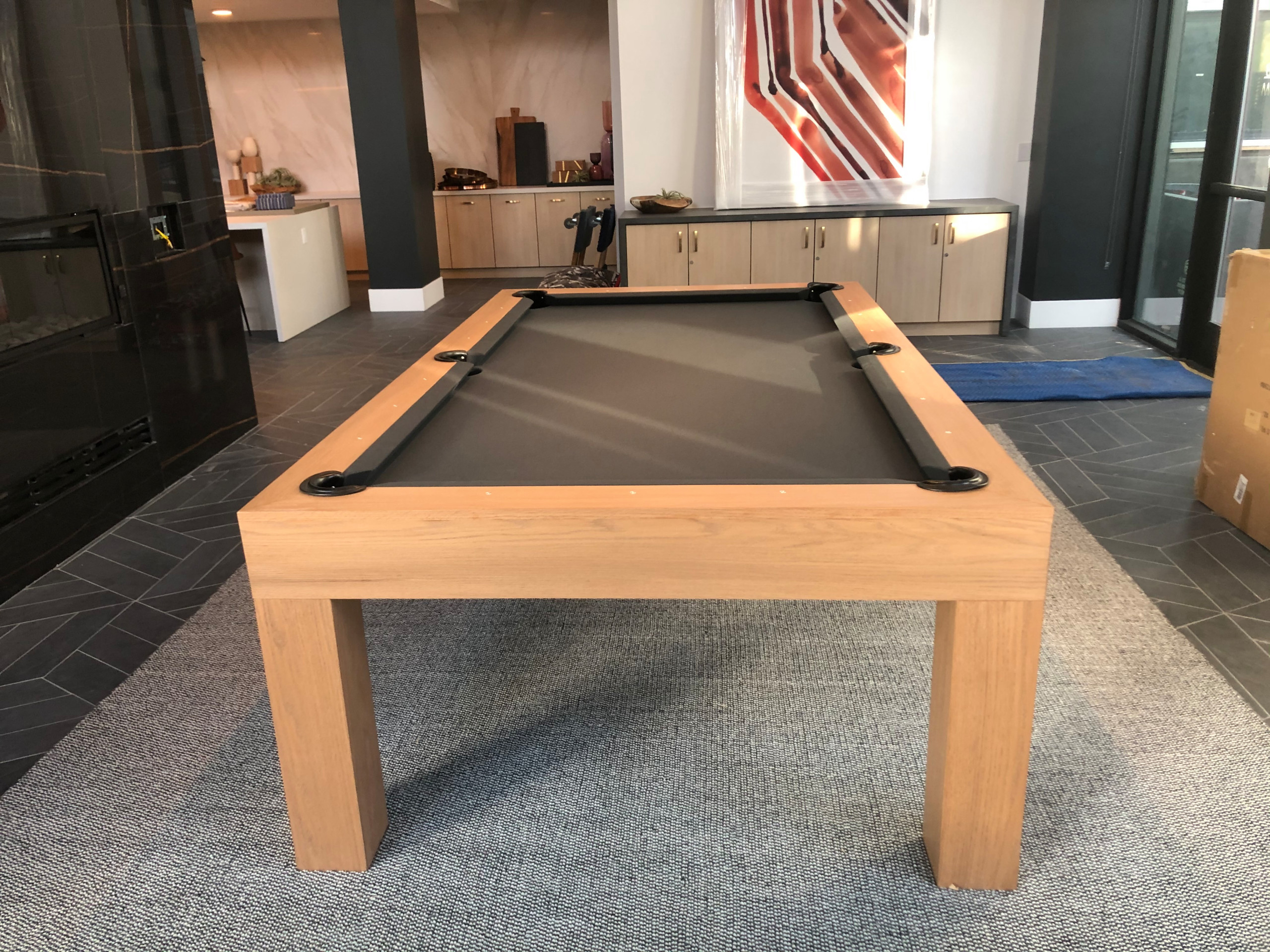 Modern pool table for a game room in an upscale apartment complex