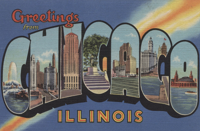 """greetings From Chicago, Illinois Blue"" Print, 24""x36""."