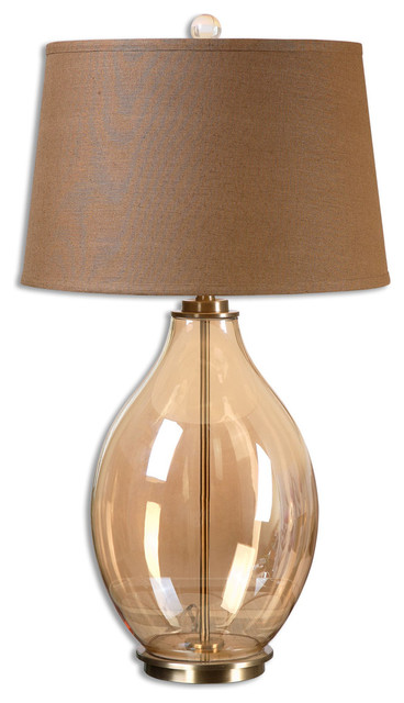Good Bartolomeo Amber Glass Table Lamp Transitional Table Lamps