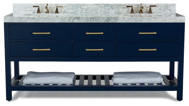 "Elizabeth Bath Vanity Set, Heritage Blue, 72"", Gold Hardware, Carrara White Marb"