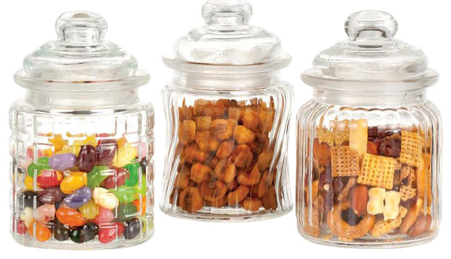 3 piece mini glass canister set modern kitchen kitchen canisters glass decors ideas