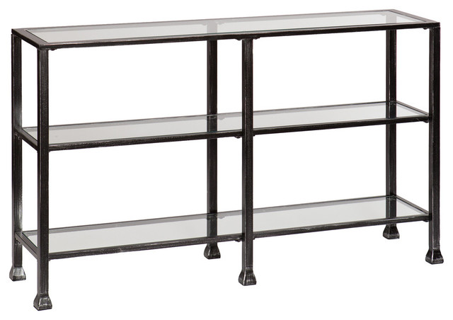 Symon metal glass bunching console table transitional for Metal and glass console tables