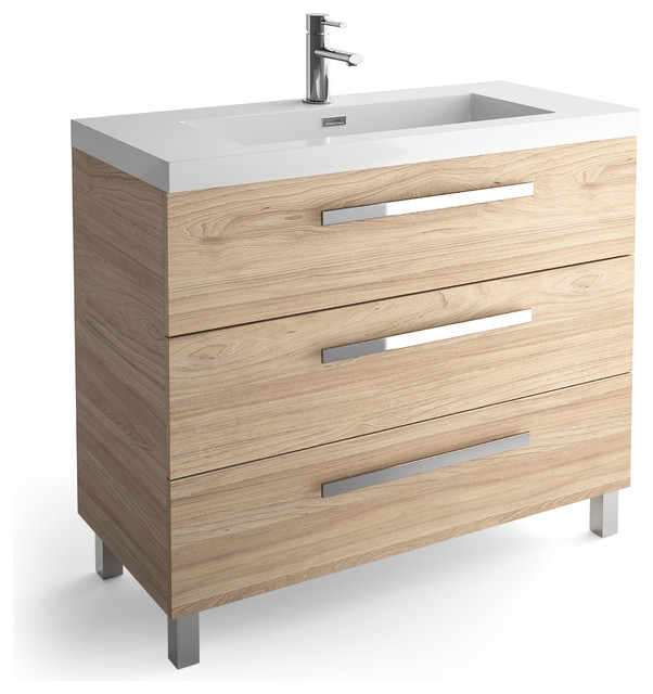 Beverly Chrome and Elm 3-Drawer Vanity With Basin, 40""
