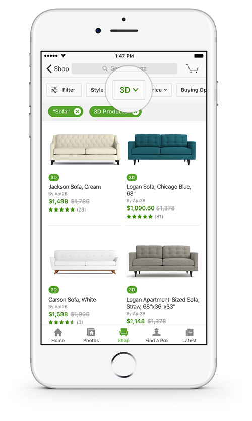 Houzz User Can Turn The Sofa Around To See It From Various Angles. The 3D  Models Have Realistic Textures, So You Can See How The Surfaces Would Look  In Your ...