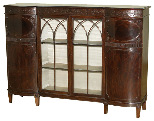 Consigned c1920 antique english burl mahogany curio for Antique display cabinet